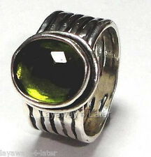 SILPADA - R1463 - Oxidized Sterling Silver & Green Glass Ring, Size 6 - RETIRED