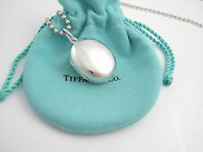 Tiffany & Co RARE Silver Large Huge Oval Locket With 34 Inch Chain Necklace!
