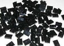 Lego Lot of 100 New Black Plates Modified 1 x 2 with Door Rails Pieces