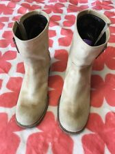 Barbara Bui LEATHER Ankle Boots Ivory Cream Women's EUR 38 US 7/5