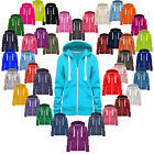 Ladies Hoodie Hooded Sweatshirt Coat Jumper Womens Zip Jacket Plain Fleece Hoody