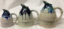 APILCO FRANCE SET OF 3 GRADUATED JUGS PITCHERS BLUE DRIPPED GLAZE AS IS FRENCH