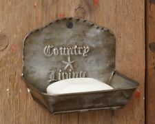 TIN METAL SOAP DISH CADDY HOLDER SET/2 PRIMITIVE COUNTRY LIVING HANG OR SIT