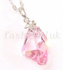 Women White Gold Plated Big Swarovski Element Pink Crystal Art uneven Necklace