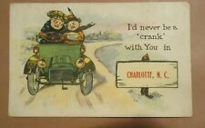 """Vintage Postcard I'd Never be a """"Crank"""" with You in Charlotte, North Carolina"""