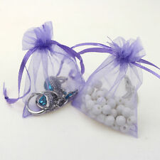 25Pcs Organza Wedding Party Favor Gift Candy Bag Packing 7X9cm(Light Purple)