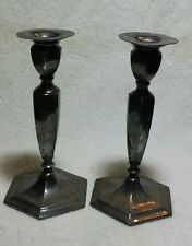 Rare Vintage Adelphi Quadruple Silver Plate Pair Taper Candle Sticks Holders