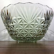 Vintage STARBURST Clear Crystal Glass PUNCH BOWL Pressed~Cut Star Burst Design