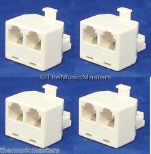 4X Modular TELEPHONE Line Cable Wall Outlet SPLITTER Double Jack Connector VWLTW