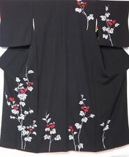 VINTAGE Kimono Giapponese tsukesage// Vestaglia nero in seta crepe 'Floreale sentieri'S 10-14