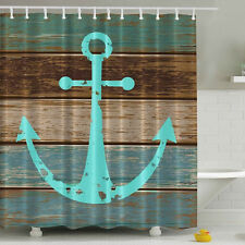 Hot Nautical Anchor Rustic Wood Shower Curtain Polyester Waterproof Mildewproof
