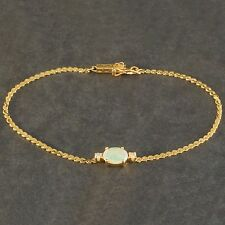 Solid 14K Yellow Gold, .82 ct. Oval Opal & Diamond, Serpentine Chain Bracelet