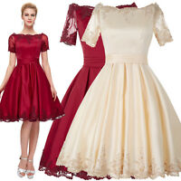 New Short Vintage Style Evening Floral Dresses Wedding Ball Gown Prom Party 4~18