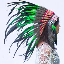 Free Shipping! Indian Headdress - Native American - Green Rooster