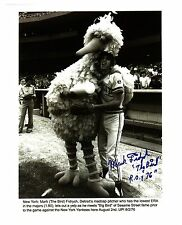 """Mark """"The Bird"""" Fidrych & """"Big Bird"""" reprinted autograph from a UPI wire-photo"""