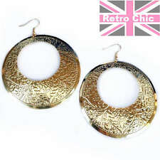 LARGE 7cm FANCY GYPSY DISCS gold plated HOOP EARRINGS fashion RETRO HOOPS boho