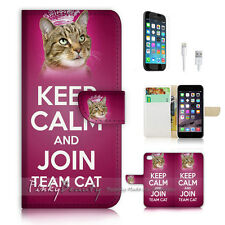 iPhone 7 PLUS (5.5') Flip Wallet Case Cover P1632 Keep Calm Cat