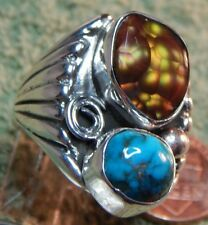 Mens New Sterling Bisbee Turquoise Fire Agate Ring Navajo Size 10 1/2