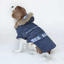 Designer Dog Reversible Coat with Hood Blue Plaid Size Large Faux Fur trim