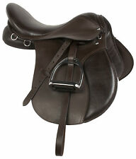 16 17 18 ALL PURPOSE BROWN ENGLISH HORSE RIDING SADDLE JUMPER DRESSAGE TACK