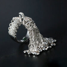 18k White Gold Haute Couture Fringe Tassel Ring made w Swarovski Crystal Stone