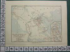 Historical map plan de bataille + texte ~ tiers macédonienne guerre 171-168 bc tripolis