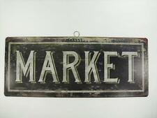 """MARKET French Shabby Distressed Chic Vintage Look 14""""x 5.75"""" Tin Sign Wall Decor"""