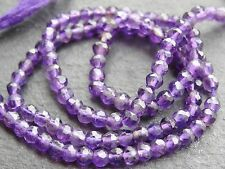 "HAND FACETED AMETHYST ROUNDS, approx 3.5mm, 12.5"" strand, 100 beads"
