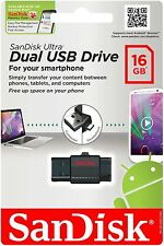 SANDISK ULTRA 16GB MICRO USB FLASH DUAL DRIVE OTG MEMORY STICK FOR SAMSUNG HTC