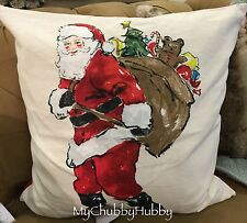 NWT Pottery Barn PAINTED SANTA PILLOW Cover Holiday CHRISTMAS SOLD OUT!!
