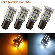 4Pcs 1157 60SMD Dual Color Switchback White Amber Tail Brake Signal LED Lights