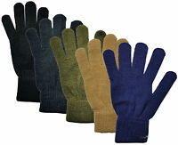 Mens Fine Knitted Thermal Plain Colour Gloves Winter Warm One Size New