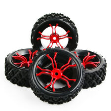 4Pcs Set Rubber Tyre Wheel 12mm Hex Rim  For RC 1:10 Rally Racing Off Road Car