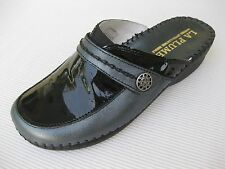 La Plume Womens Shoes $90 Pietra Black Leather / Patent Clog Italy 37 6.5 7