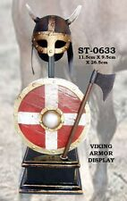 "10"" Viking Helmet Armor Shield Axe Tin Wood Stand Miniature Display Prop Gift"