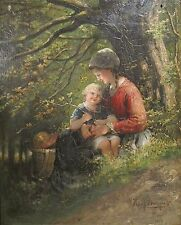 ANTIQUE 1874 FRENCH DUTCH IMPRESSIONIST OIL PAINTING HEIN J BURGERS MOTHER CHILD
