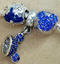 Disney 60 Anniversary Blue Castle Crystal Mickey Ears Hat European Beads Charms