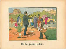 LOUVRE TUILERIES PIGEONS  RAFFIN 1920 CHROMO CARD GRANDE IMAGE ECOLE BON POINT