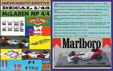 ANEXO DECAL 1/43 MCLAREN MP 4/4 1988 MARLBORO AYRTON SENNA & ALAIN PROST (01)