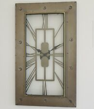 LARGE Industrial Art Deco Esk Rectangle Pale Gold Skeleton Metal Wall Clock NEW