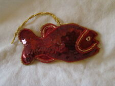 RED SEQUINED FISH SHAPED WALL HANGING HANDMADE INDIA, IDEAL CHRISTMAS DECOR