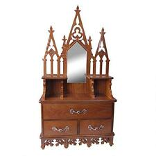 European Gothic Solid Hardwood Wall Curio Cabinet Mirror Collector's Display