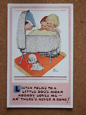 R&L Postcard: Mabel Lucie Attwell, Valentine's 5062, Childrens, Baby in Cot/Dog