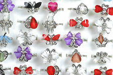 Wholesale Jewelry Mixed Lots 20pcs Women's Retro Crystal Adjust Rhinestone Rings
