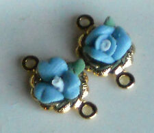 Vintage Connectors Porcelain Flower Blue Rose Bud Tiny Gold Plated #1105E