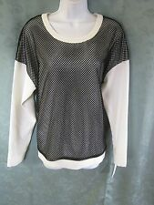 DKNY Size Small Mesh Overlay Blouse NWT Black on White