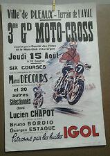 AFFICHE ANCIENNE MOTO CROSS PLEAUX CANTAL HUILE IGOL AUVERGNE M DECOURS CHAPOT