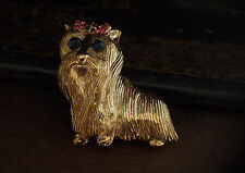 Vintage Gold Maltese Terrier Shih Tzu Dog Brooch with Pink & Blue Crystal Bow