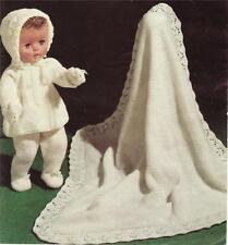 """DOLLS PRAM SET 14 & 16""""  - 3ply - COPY vintage doll knitting pattern"""