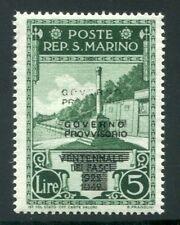 1943 San Marino 25 cent. verde scuro sovrastampato nuovo ** doppia sovrastampa